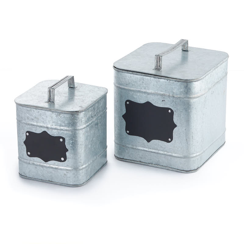 Square Galvanized Canister Set - Decorative Containers ...