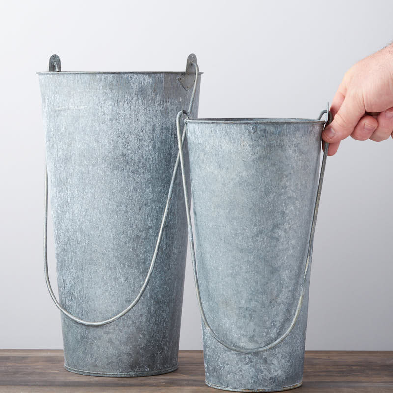 Rustic galvanized french flower bucket set decorative for Rustic galvanized buckets