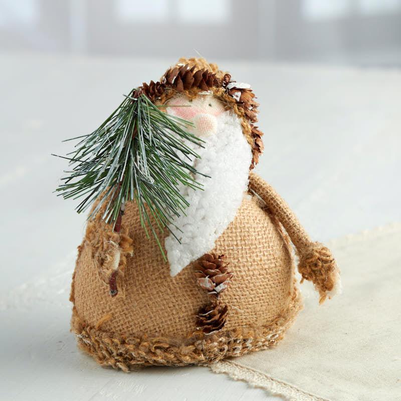 Rustic Roly Poly Burlap Santa