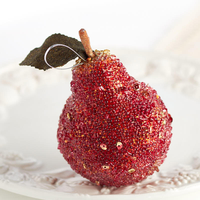 Red Beaded Pear Ornament Christmas