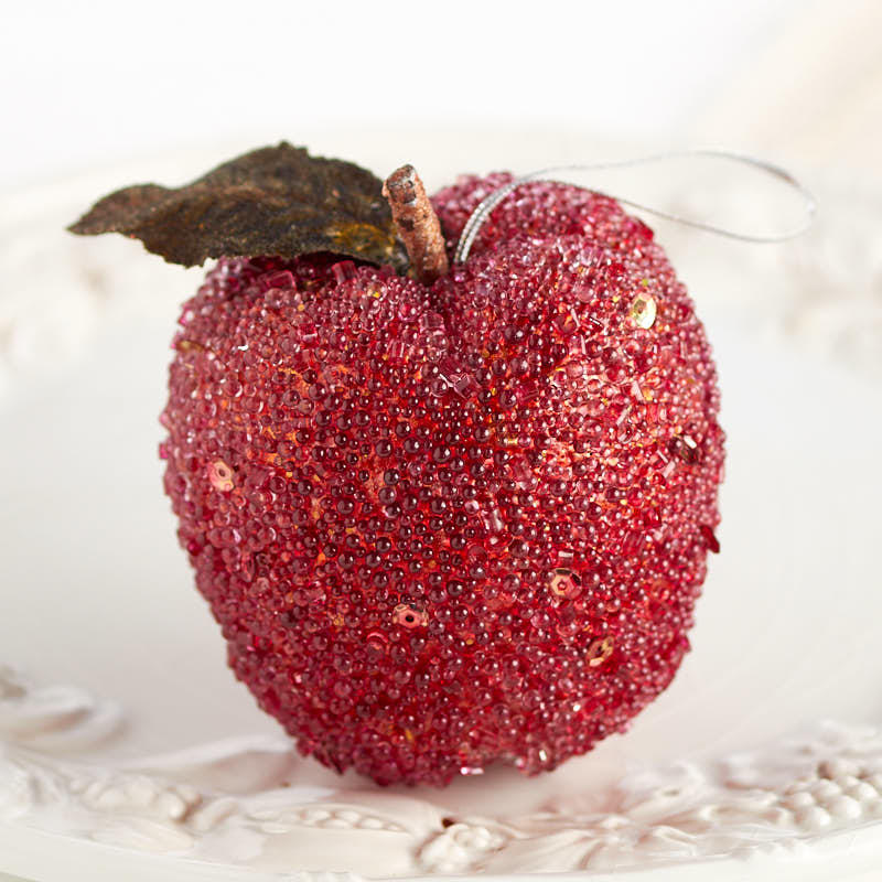 Red Beaded Apple Ornament - Christmas Ornaments ...