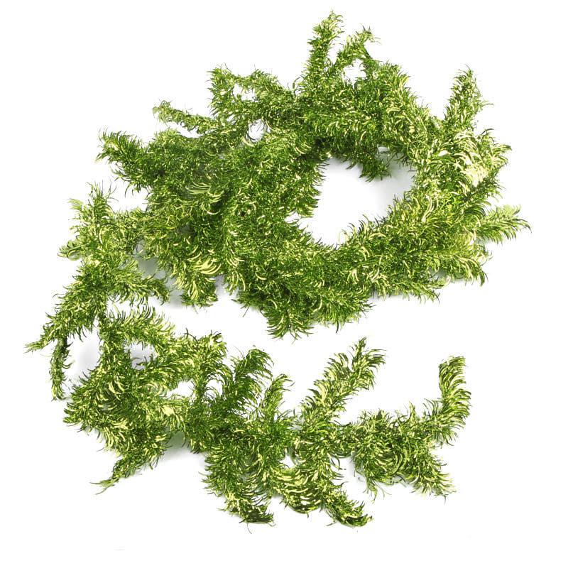 Top green tinsel garland