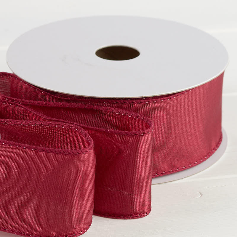 Burgundy Satin Wired Ribbon - Ribbon and Trims - Craft Supplies