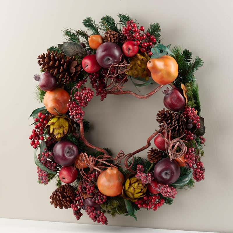 Holiday artificial fruit and pine wreath on sale craft for Craft wreaths for sale