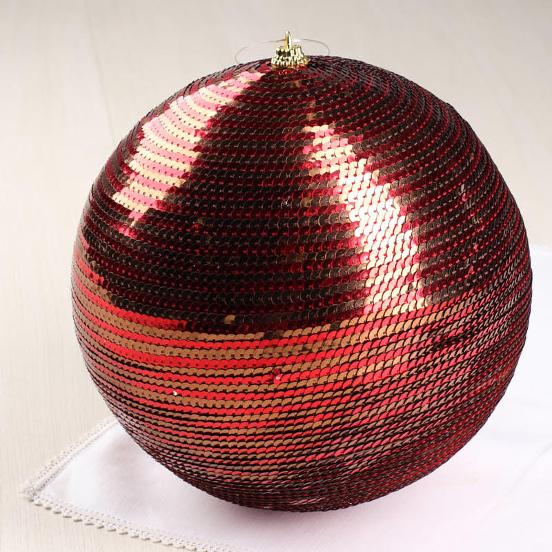 Large Red and Brown Sequin Ball Ornament - Christmas Ornaments ...