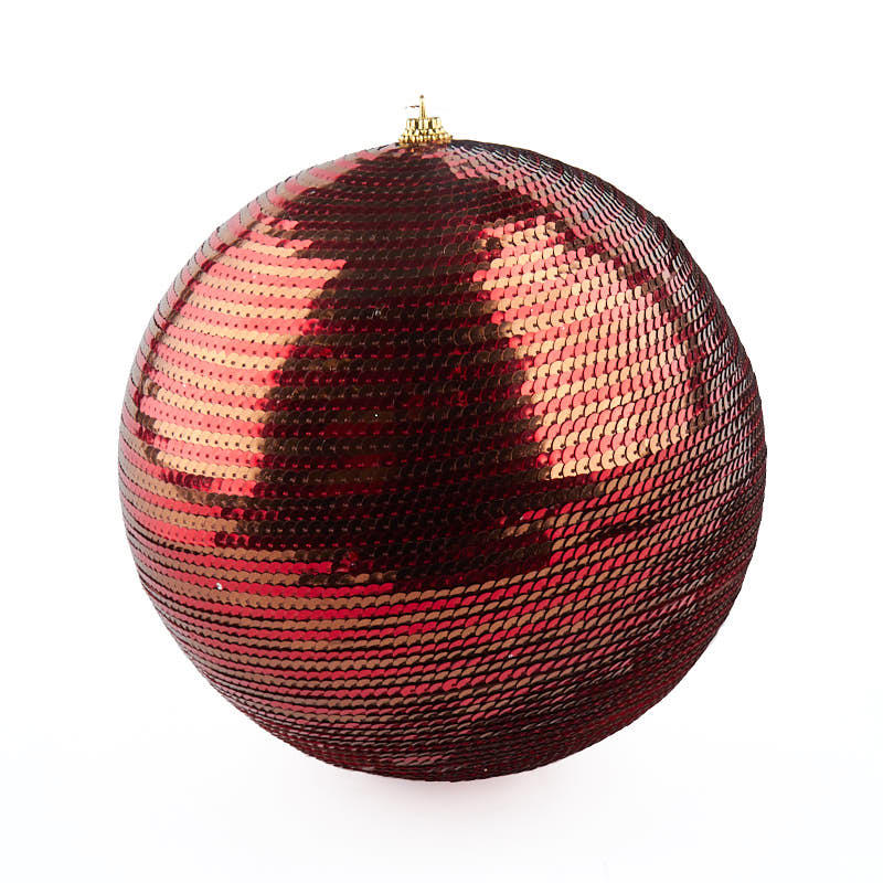 Large Red and Brown Sequin Ball Ornament - Christmas ...