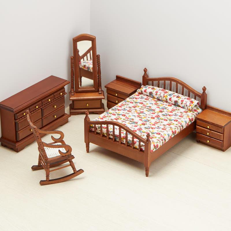 Dollhouse Miniature Victorian Bedroom Set in Walnut