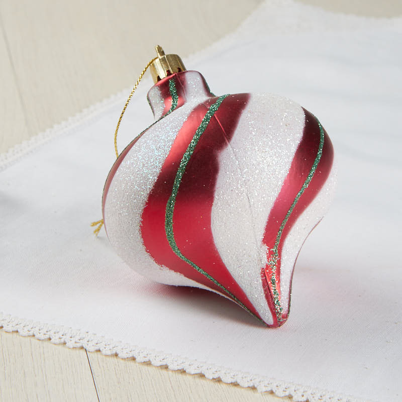Red and white striped christmas ornament
