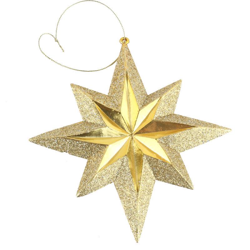 Gold metallic star ornament christmas ornaments