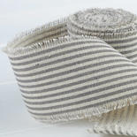 Charcoal and White Striped Linen Ribbon