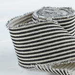 Black and White Striped Linen Ribbon