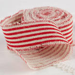 Red and White Striped Linen Ribbon