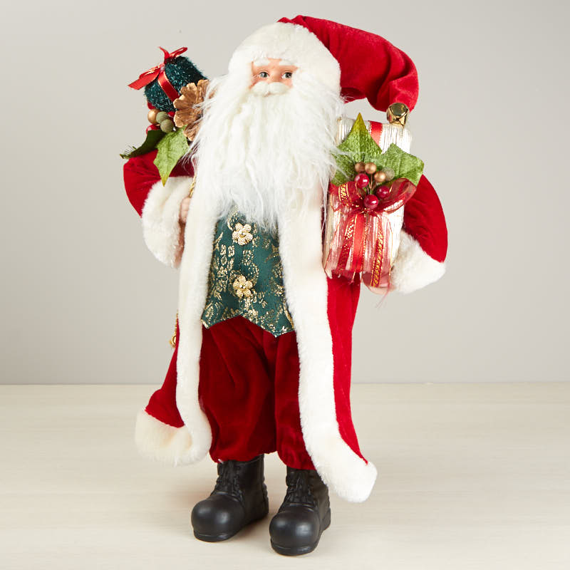 Standing classic santa figurine christmas and winter