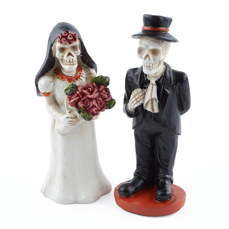 Miniature Skeleton Bride and Groom Halloween and Fall Miniatures