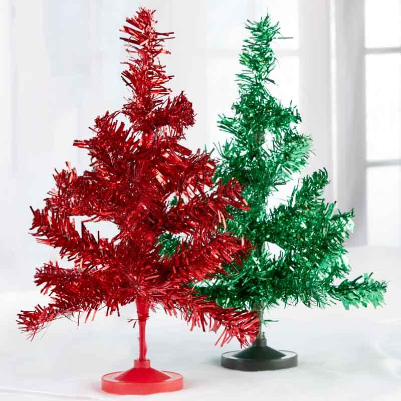 Set of retro metallic tinsel christmas trees on sale