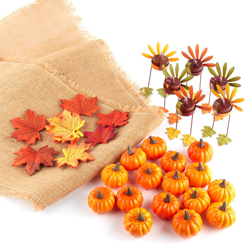 Thanksgiving table decoration kit and shelf