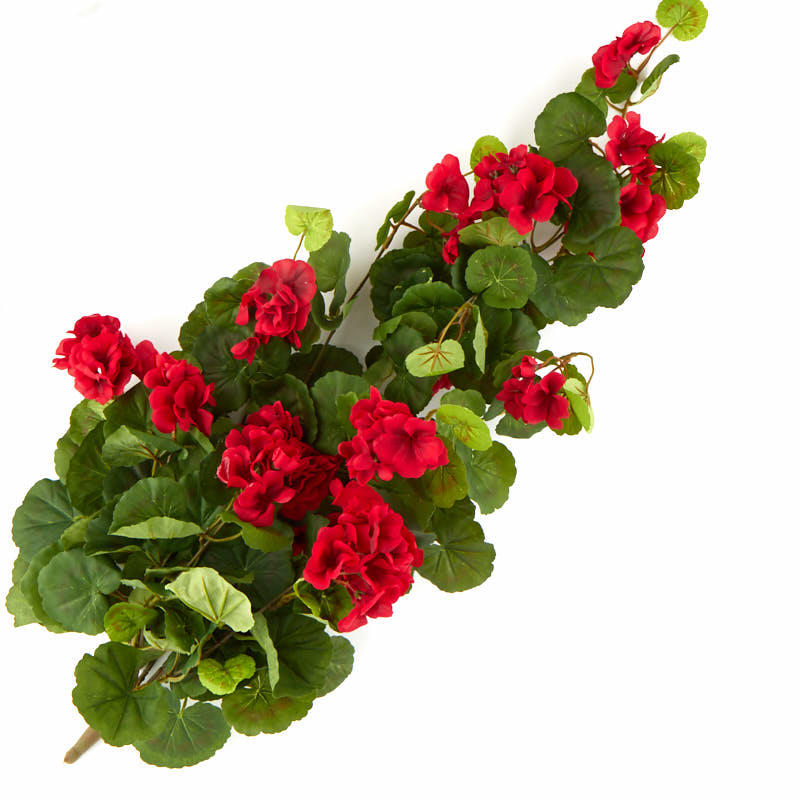 Red Artificial Geranium Bush Bushes And Bouquets