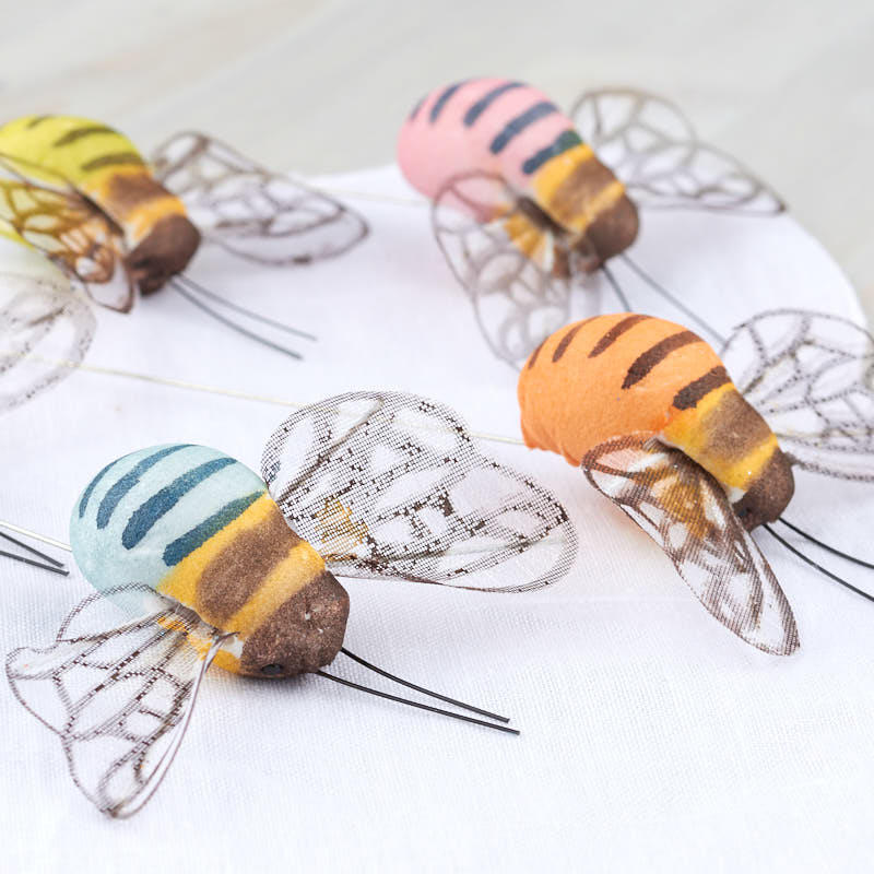 Assorted mushroom bumble bees artificial birds and nests for Artificial bees for decoration