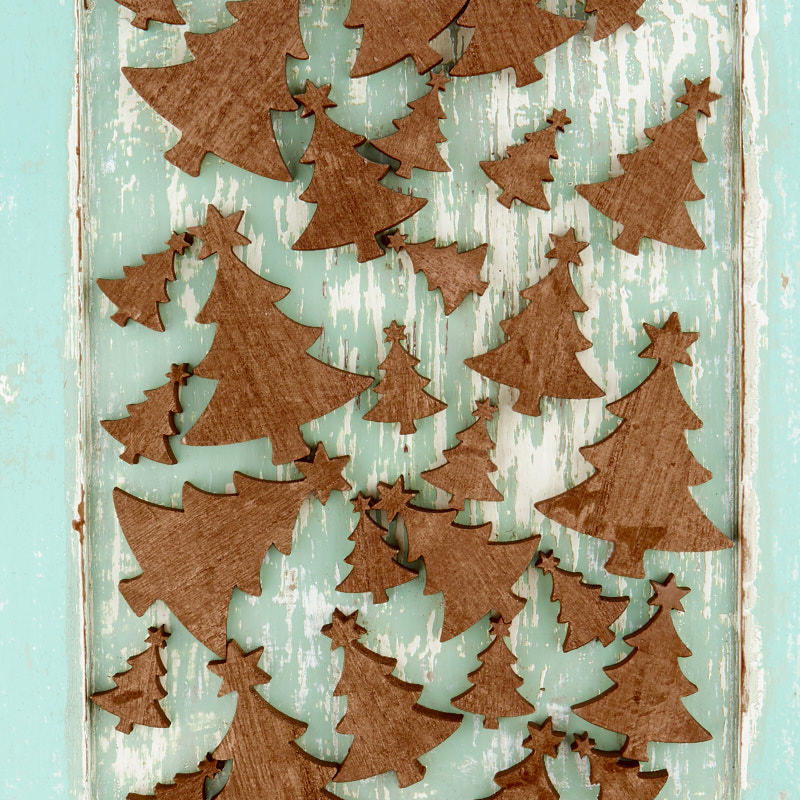 Golden Wood Christmas Tree Cutouts - Wood Cutouts - Wood ...