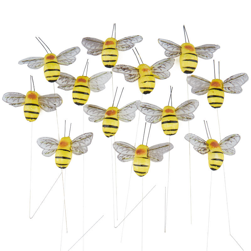 Yellow mushroom bumble bees artificial birds and nests for Artificial bees for decoration