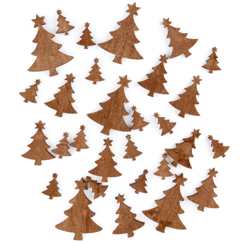 Golden wood christmas tree cutouts wood cutouts for Wooden christmas cutouts