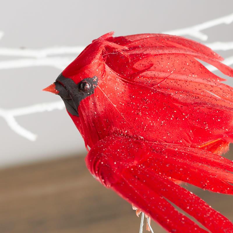 Glittered Flying Artificial Cardinal Bird Birds