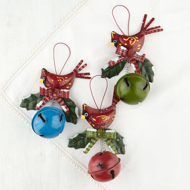 Cardinal jingle bell christmas ornament