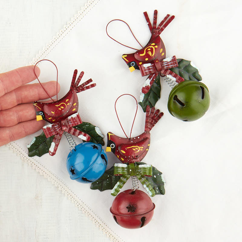 Compare Size - Cardinal Jingle Bell Christmas Ornament - Christmas Ornaments