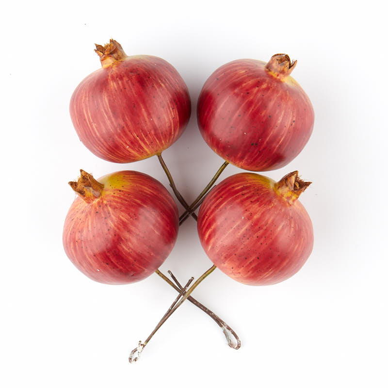 red artificial pomegranate picks vase and bowl fillers