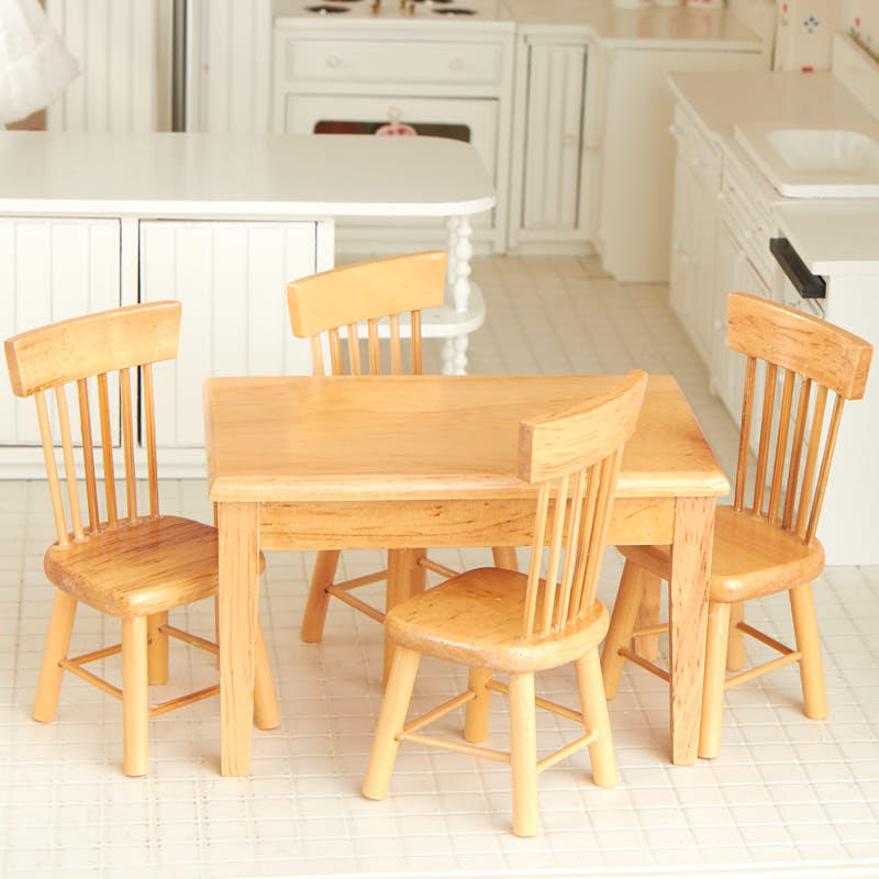 Oak Kitchen Table Chairs: Dollhouse Miniature Light Oak Kitchen Table And Chair Set