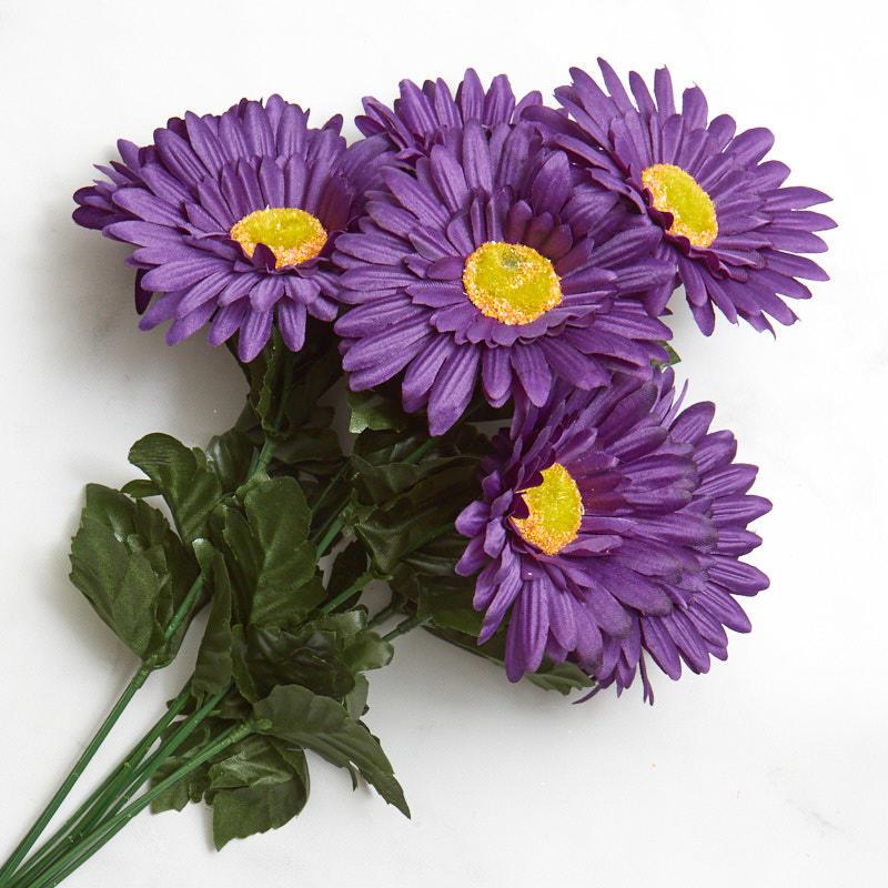 purple artificial gerbera daisy bush bushes and bouquets