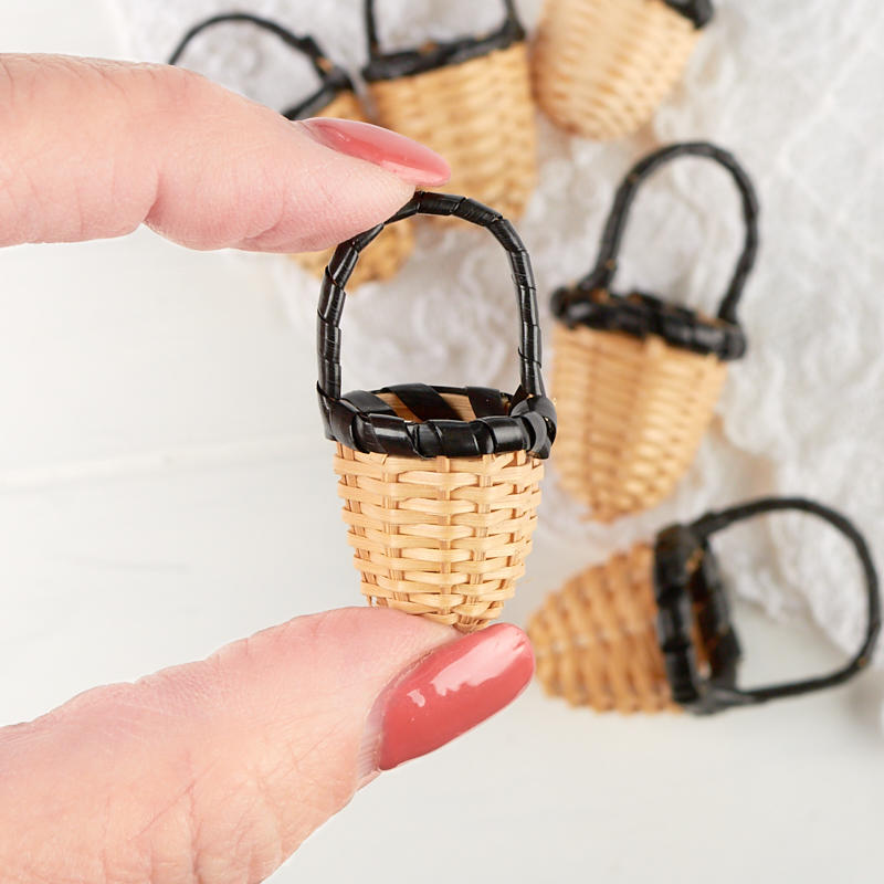Bamboo Basket Making Supplies : Miniature woven wicker baskets doll accessories