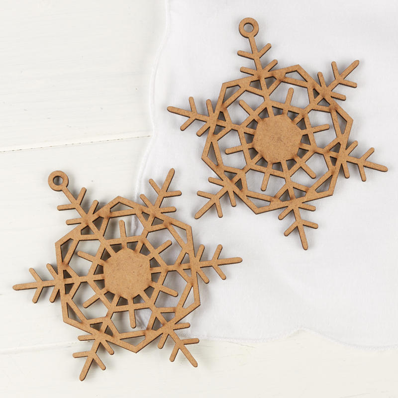 click here for a larger view - Wooden Laser Cut Christmas Decorations