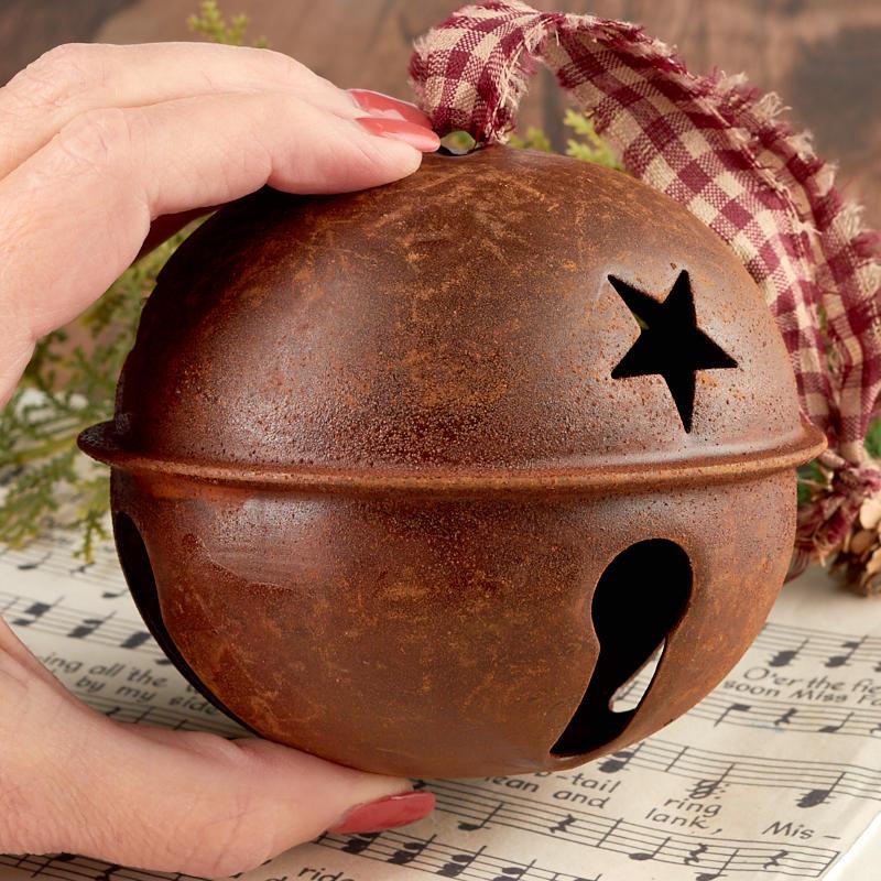 Primitive rusty tin jingle bell ornament christmas
