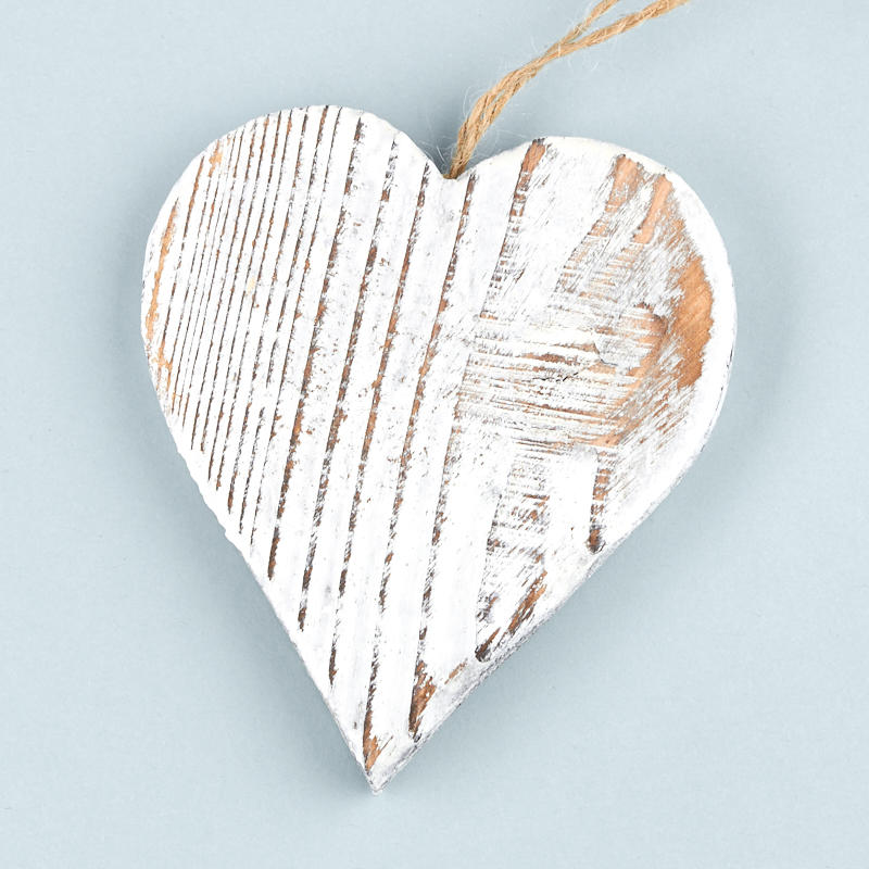 rustic white washed wood heart ornament christmas ornaments