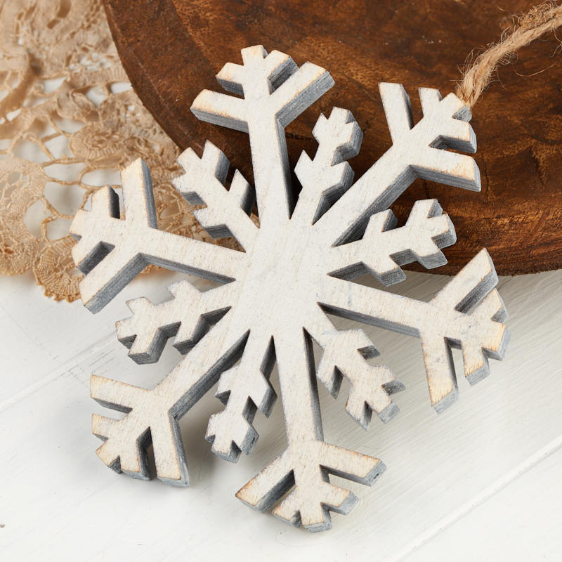 Rustic White Washed Wood Snowflake Ornament Christmas Ornaments