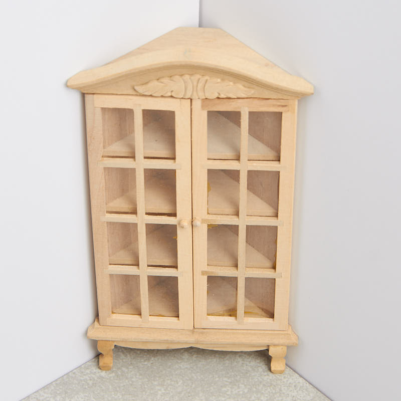 Miniature Unfinished Wood Corner Display Cabinet - Living Room ...