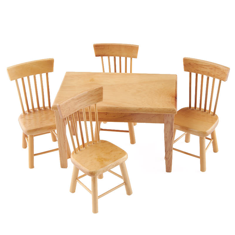 Dollhouse Miniature Light Oak Kitchen Table And Chair Set