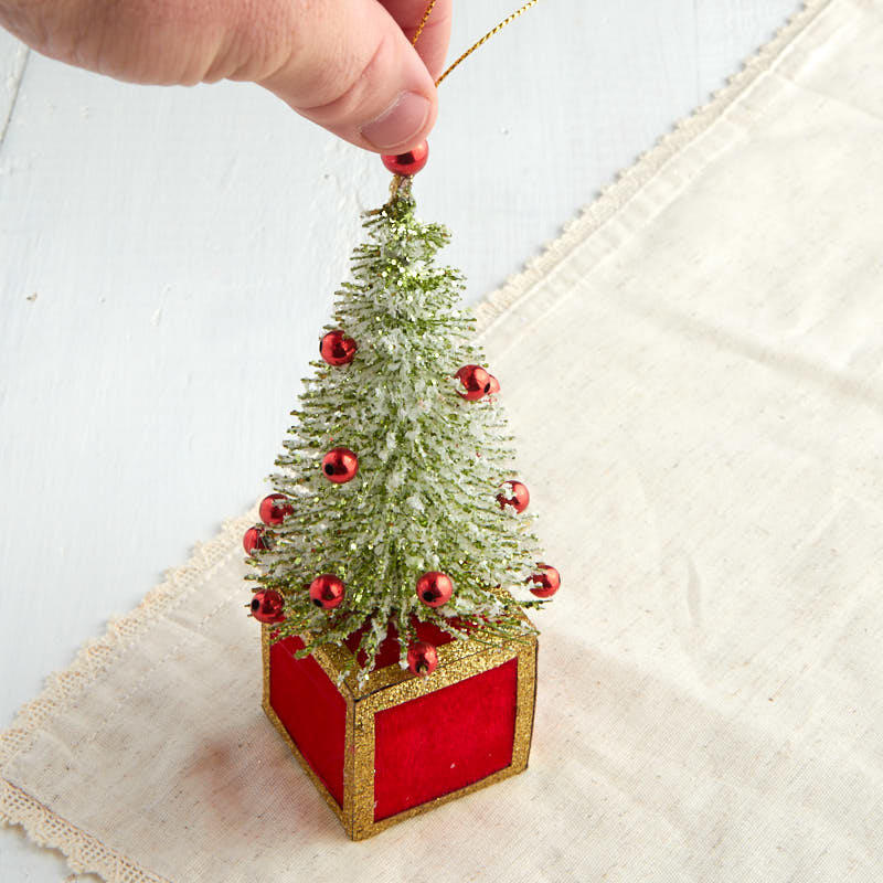 Miniature glittered bottle brush tree ornament trees and for Miniature christmas trees for crafts