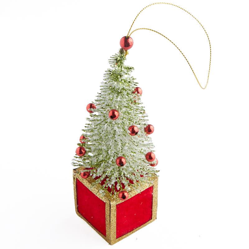 Miniature glittered bottle brush tree ornament christmas for Miniature christmas trees for crafts
