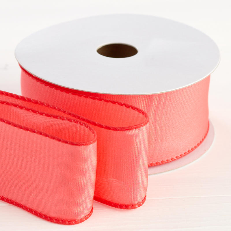 "1-1/2"" Coral Satin Wired Ribbon"