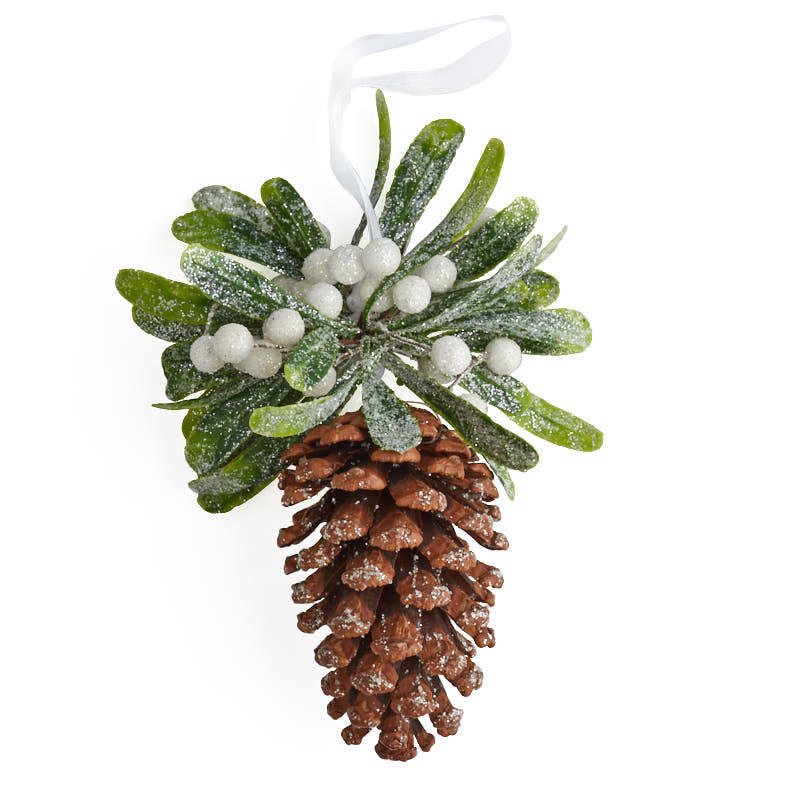 frosted mistletoe pinecone ornament
