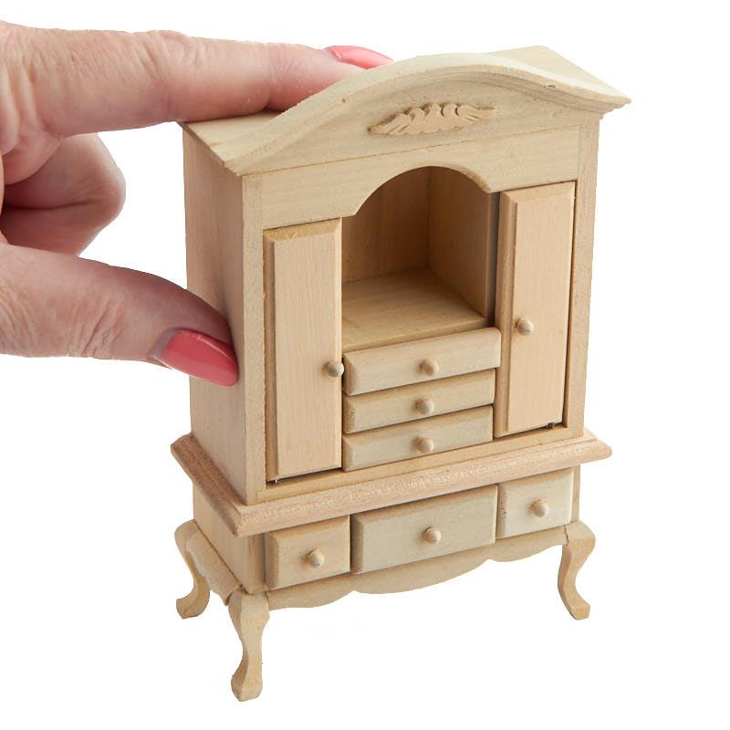 Dollhouse Miniature Unfinished Wood Dresser Bedroom