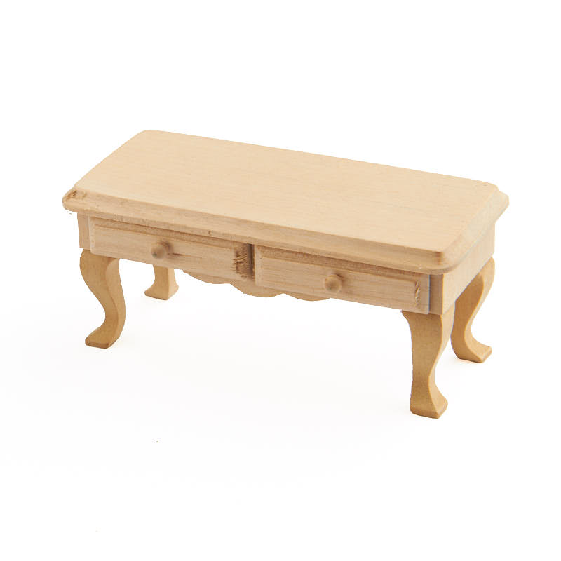 Dollhouse Miniature Unfinished Wood Coffee Table