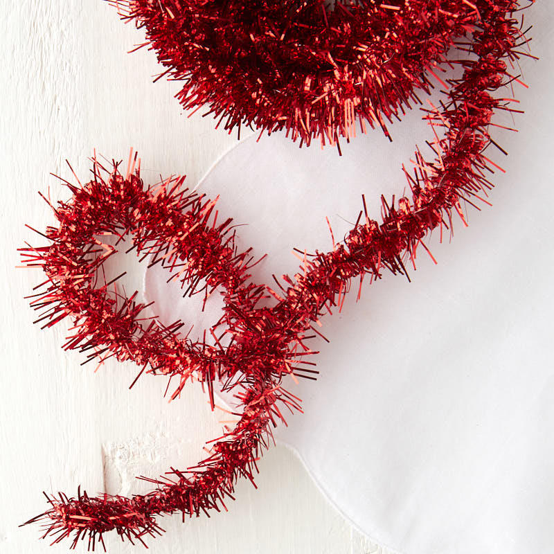 Metallic red tinsel garland christmas garlands