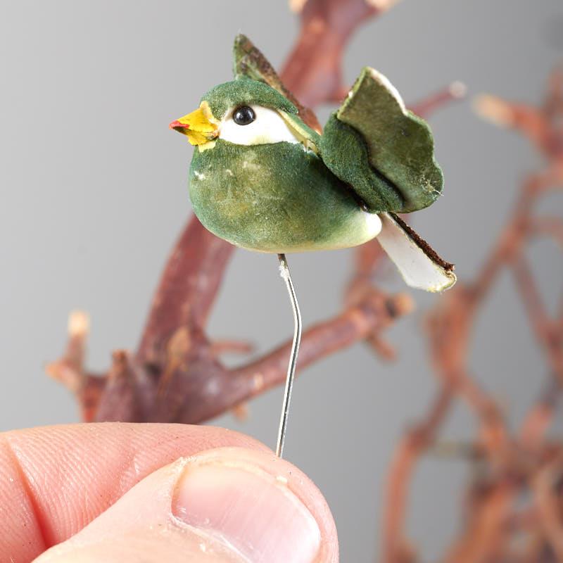 Miniature artificial sparrow mushroom bird artificial for Fake birds for crafts