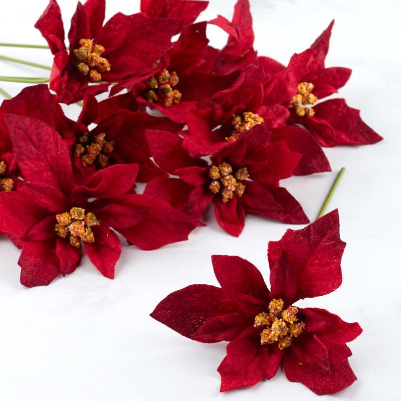Burgundy Velvet Artificial Poinsettia Picks Picks Sprays Floral Supplies Craft Supplies Factory Direct Craft