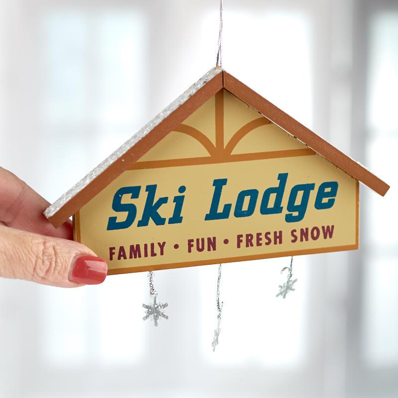 u0026quot ski lodge u0026quot  wintry sign ornament