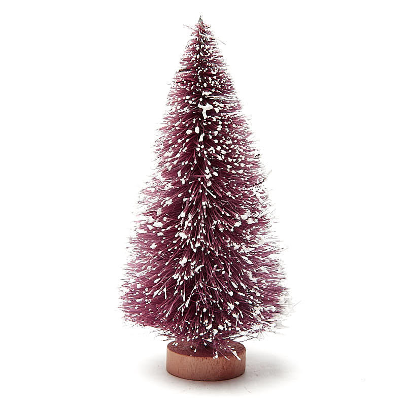 Frosted Purple Bottle Brush Trees Christmas Miniatures