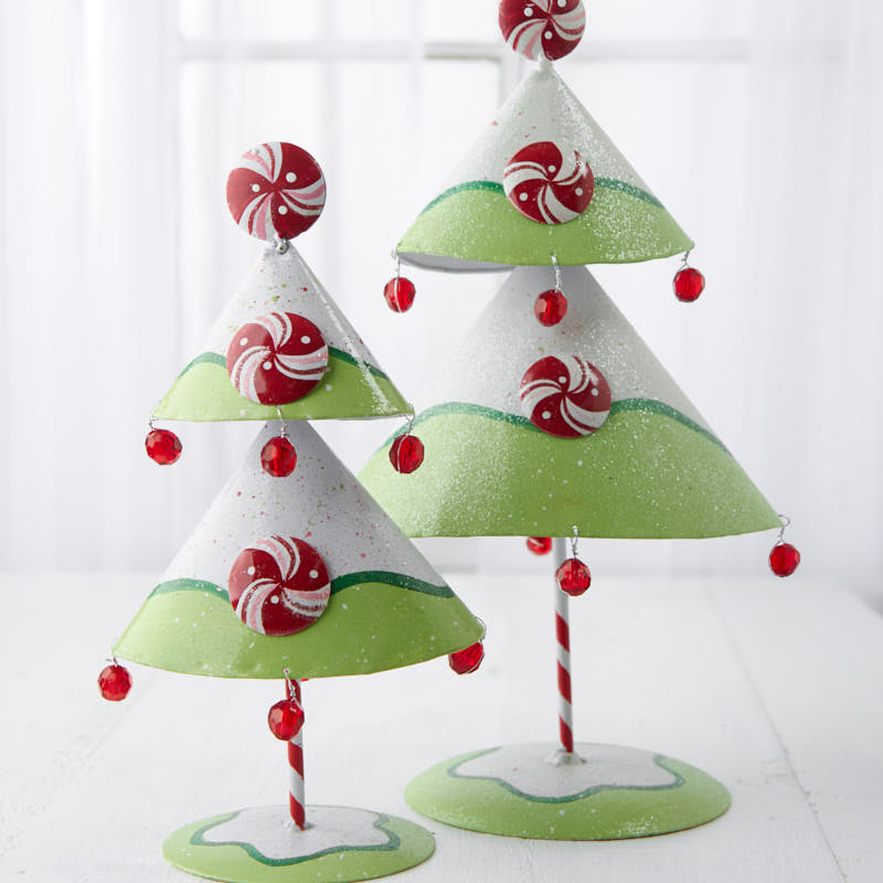 Tabletop Christmas Tree.Peppermint Tabletop Christmas Trees